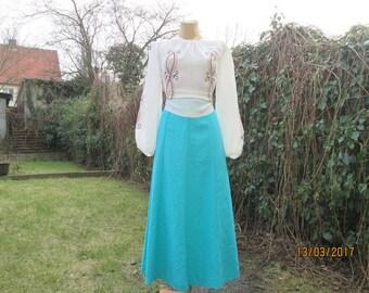 Long Linen Skirt / Viscose / A Line Long Skirt / Skirt Vintage / Long Turquoise Skirt / Skirt Size EUR44 / UK16