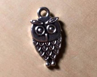 12 Silver Accented Owl Charms, Jewelry Findings