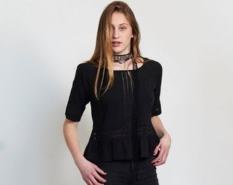 Pre Winter Sale 15% Back Placket Eyelet Shirt ,black.