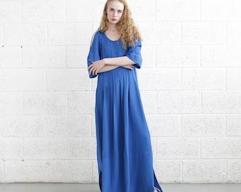 Open shoulder dress , Pleated  Maxi dress ,Blue Dress.