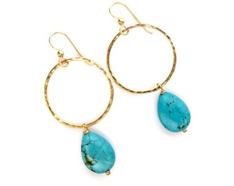 Gold Hammered Hoops, Turquoise Faceted Drops, Gemstone Jewelry, December Birthstone, Mothers Day Gift Idea for Her, Boho Fashion, Gemstones