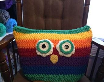Huge Owl Pillow, Rainbow colors