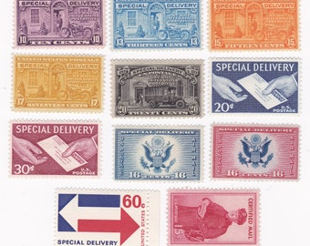 10 Mint US Special Delivery And Certified Mail Stamps