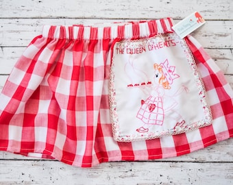 Toddler Girl Vintage Queen of Hearts Pie Circle Skirt 2T