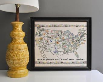 Vintage Crewel Embroidered US State Flowers Map Sampler -