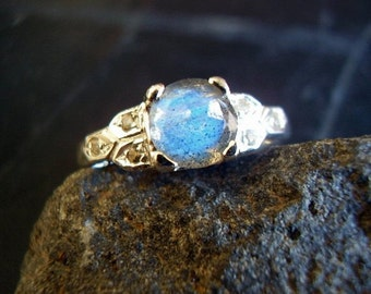Cinderellie - Genuine Labradorite & White Topaz Deco Engagement Ring - 925 Solid Sterling Silver Wedding Ring -Faceted Round Cut Labradorite