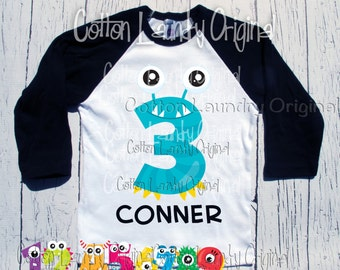 Monster birthday shirt Cookie Monster themed birthday shirt baseball raglan style - Ages 1-10