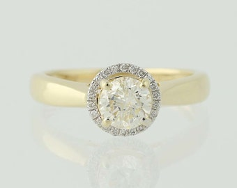 Diamond Halo Engagement Ring - 14k Yellow Gold Round Cut .91ctw Unique Engagement Ring N4382