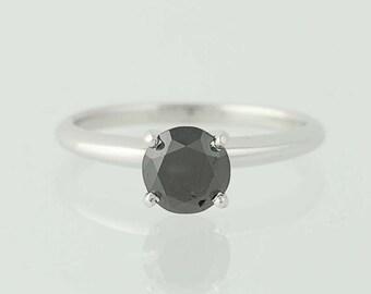 Black Diamond Engagement Ring - 14k Gold Round Cut Solitaire 1.21ct Unique Engagement Ring N5249