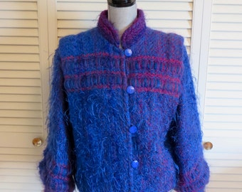 Handmade OOAK Felted Wool Jacket M Blue Fuzzy Ombre Purple Furry Shaggy Vintage Boho Hippie Gypsy Club Kid Grunge Mod Hipster Art Festival