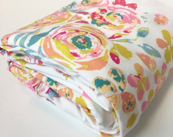 Watercolor Floral Crib Sheet / Fitted Crib Sheet, Watercolor Floral Crib Bedding, Mini Crib Sheets, Floral Baby Bedding, Baby Girl Bedding