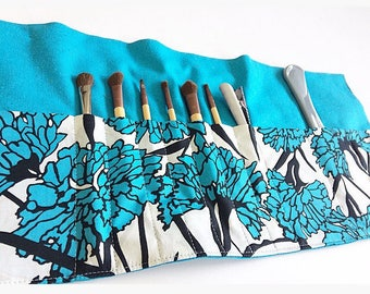 Blue Floral Print Makeup And Toiletry Holder Made From Silk And Cotton - 14 Pockets