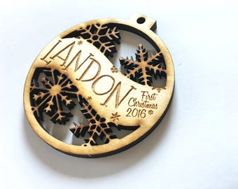 Landon - Customizable Baby's First Christmas Ornament - Engraved Birch Wood Ornament