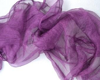 silk for feltmaking 2 yards, nuno felting, felting, silk for felt, silk fabric, pure 100% silk, amethyst
