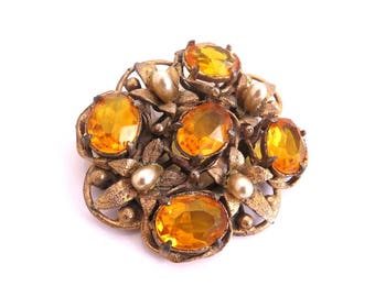 Vintage Art Deco Brooch, Amber Topaz Glass Flower Pin, Pearl Brooch Pin, Victorian Sash Pin, 1930s Antique Jewelry