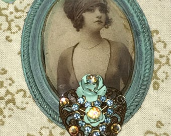 SALE 1920s FlapperGirl Patina Oval Pendant & SWAROVSKI silk chain. Pacific blue and Matte Opal Swarovski Crystal Necklace. Aqua Glass nugget