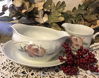 Gravy Boat with Attached Under Plate & Creamer Pitcher ~ Serving pieces from Nouvelle Cuisine Collection ~ Anatole Fine Porcelain ~ Japan