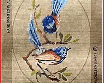 Nice New Bird Needlepoint Canvas: Wrens  Colorful