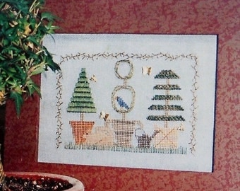 50%OFF | Sandra Sullivan | TOPIARY TRIO | Plain & Fancy Collection | Homespun Elegance | Counted Cross Stitch Pattern | Chart