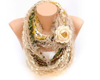 Victorian Crochet lariat scarf, infinity chain scarf,  lariat  scarf, with  REMOVABLE  flower  brooch.