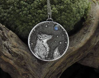 Moonstone Moon & Fox Necklace - Silver Fox Necklace - Moon Gazing Necklace - Starry Sky Necklace - Rainbow moonstone pendant
