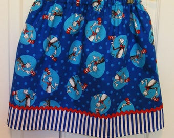 Skirt made with authorized Robert Kaufman fabric  Cat in the Hat Circles (12 mos - 10)