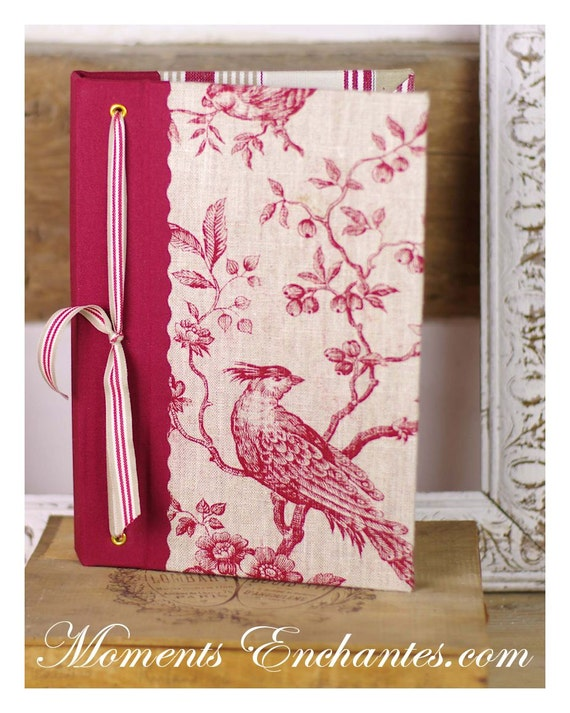 Note book  vintage bird linen toile de Jouy
