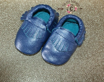 SALE SALE SALE Wow! Royal Blue shimmer fringes Moccasins 100% genuine leather baby moccasins Mocs moccs