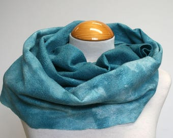 Teal Ombre Nuno Felt Scarf Hand Dyed