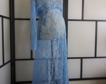 Ready to ship turquoise Lace Maternity Dress , floor length, maxi, photography, photo prop, lace, gown, white, full sleeve,floor length