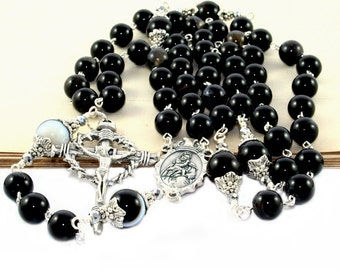 """Substantial Catholic Man's Rosary, Black Agate, Pewter """"Nails"""" Crucifix, Madonna & Child Center"""