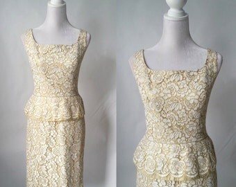 Vintage 1950s Beige and Gold Lace Dress with Peplum