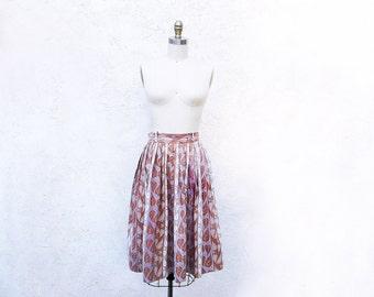 1950 Cotton Skirt, Full 50s Leaf Print Skirt, Mid Century Fashion
