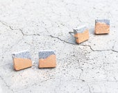 Square Handmade Minimalist Concrete Stud earrings - Minimalist Jewellery - Architectural - Hypoallergenic earrings - Minimalist earrings