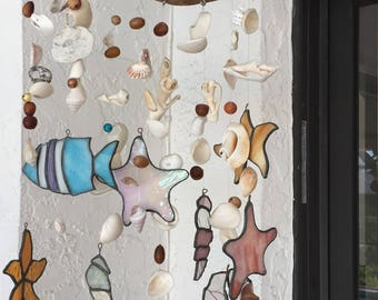 Hand Crafted Nautical Driftwood Stained Glass Sea Shells Coastal Windchime