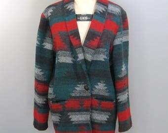 Vintage Southwestern Coat, 80s Unlined Tribal Boho Jacket, VGC, Oversized