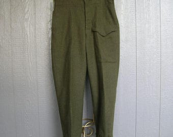 Vintage 50s CANADIAN MILITARY PANTS Heavy Wool