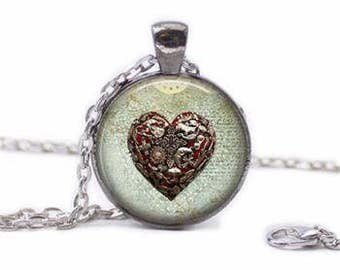 My Heart Is Full Glass Cabochon Pendant Necklace