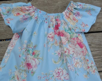 Girl's Infants Toddlers Blue Spring Floral Bouquet Peasant Dress