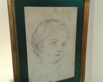 ON SALE Antique French pencil sketch from late 19th , framed pencil drawing of child,  wall art, neoclassic art