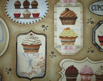 Cupcakes Cup Cakes Icing Baking Bakery Tan Cotton Fabric Fat Quarter or Custom Listing