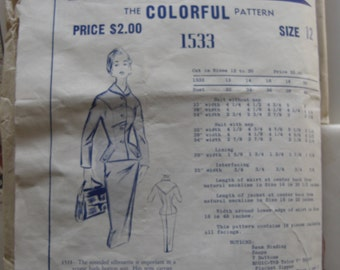 Vintage Sewing Pattern 1950s Tailored Suit Dress