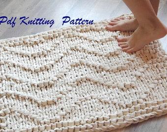PDF KNITTING PATTERN rug Waves