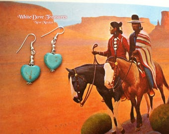 Turquoise Heart Earrings ~ Southwestern Santa Fe Native Style ~ Girlfriend Gift ~ Magnasite Special Price ~ Gift Box