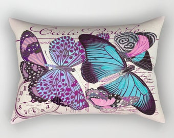 Vintage Postcard BUTTERFLY Lumbar Pillow, Rectangular, Romantic, Antique French Handwriting script Turquoise Blue, Pink, Purple, Violet