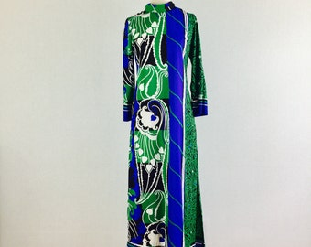 1960s colorful maxi dress - 60s Lounge Craft Original graphic hostess gown - medium
