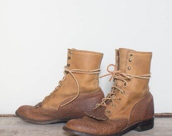 SALE 7 D | Vintage Justin Lace Up Ropers Two Tone Bull Hide Ankle Boots