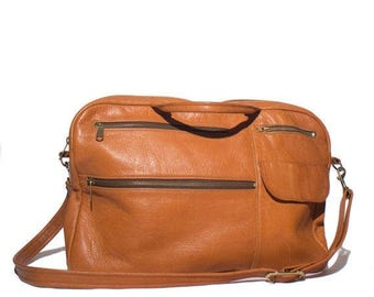 SALE VTG 1970's Lestrade of California Leather Messenger Brown Satchel Carry All Made in Santa Barbara