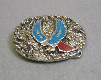 Native American Style Eagle Belt Buckle, Turquoise and Coral