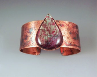 Red Labradorite- Rainbow Patina- Copper Cuff Bracelet